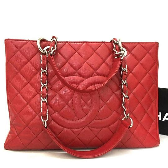 Chanel Caviar Leather Caviar Leather Silver Hardware Tote in Red Image 8