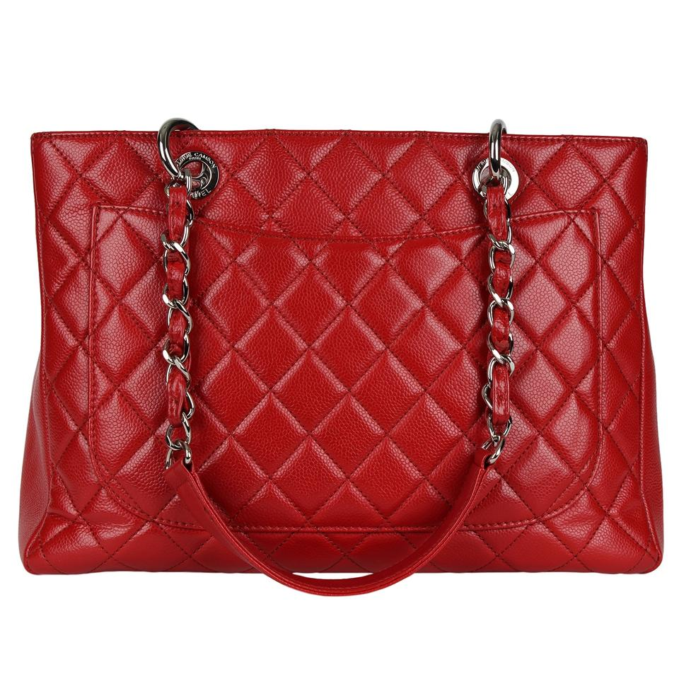 9da25a754d399f Chanel Quilted Silver Hardware Caviar Skin Chain Grand Shopping 7136 Red Leather  Tote - Tradesy