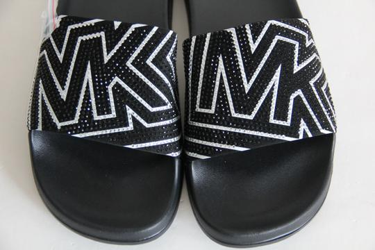 Michael Kors Mk Logo Slide Embellished Black Sandals