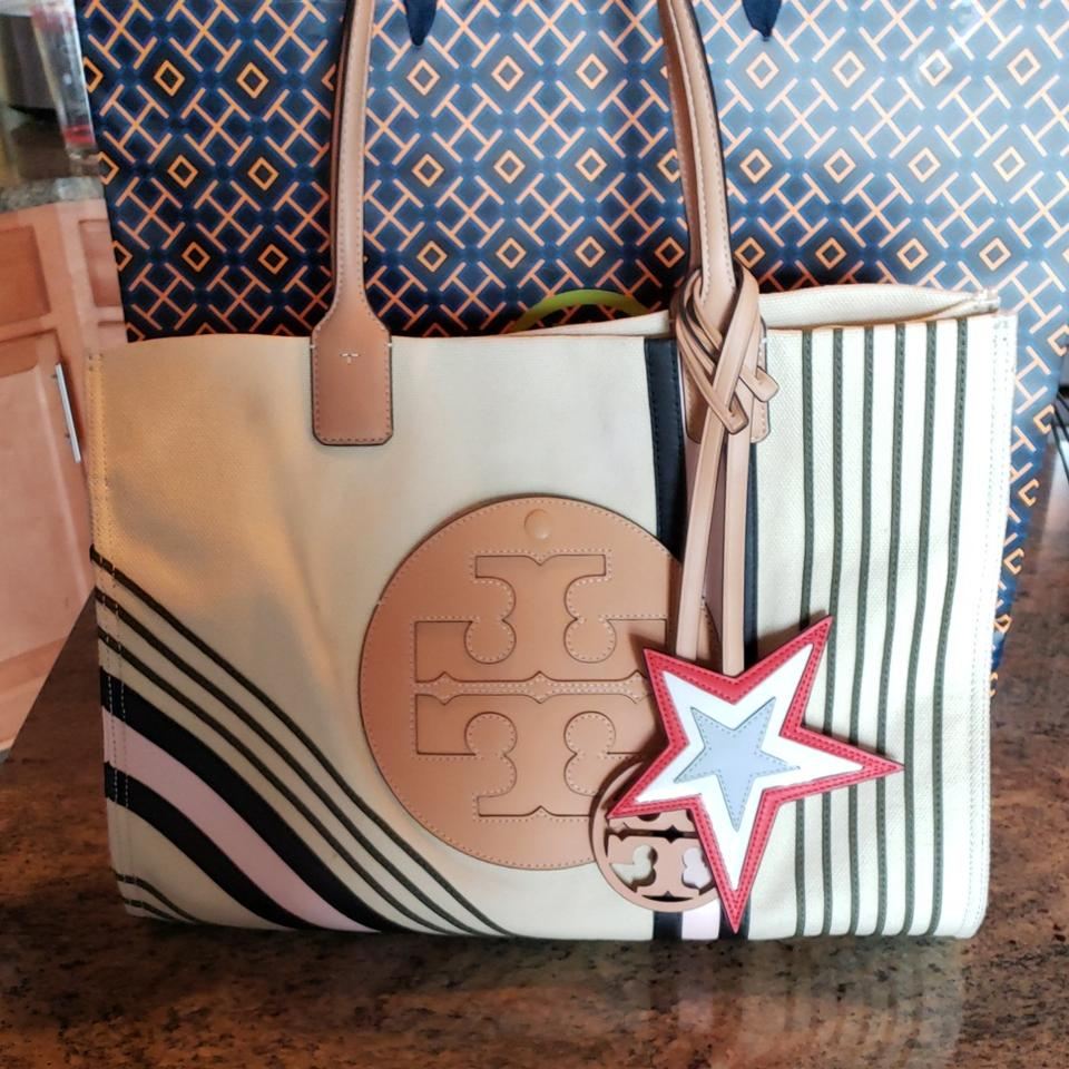 7f1562c7f5c3 Tory Burch Ella Printed Large Small White Spot On The Front Just Above The  T Emblem. Interior Clean with A Small Pen Mark. Canvas Tote