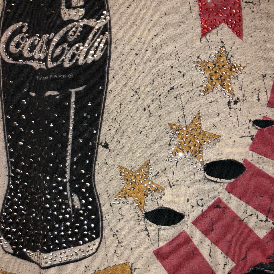 c8b58dd0 Coca-Cola Dark Grey Rhinestone Embedded Sleeveless Shirt Tank Top ...