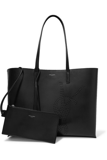 59acb7f6b94 Saint Laurent Perforated Black Leather Tote - Tradesy