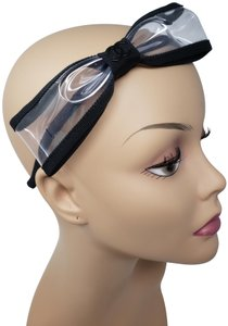 Chanel Black clear Chanel Interlocking CC logo bow headband