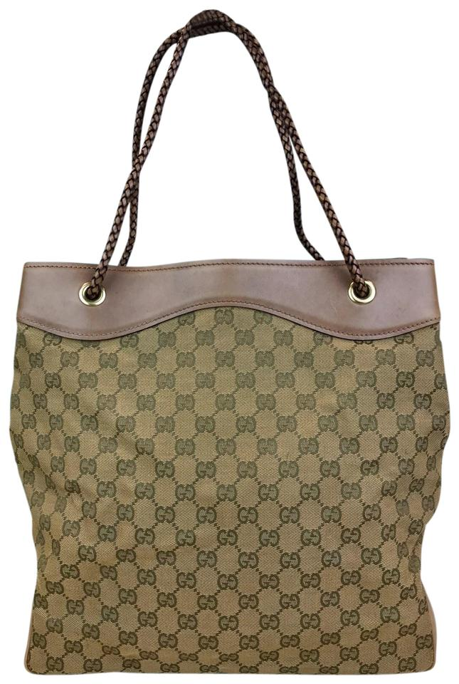 ee21bfe0b294 Gucci Bag Tan Web Monogram Braided Strap Women's Sale Brown Canvas ...