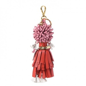 Prada Prada Trick in Pelle Lacca Wendy Red Pink Leather Keychain 1TL170