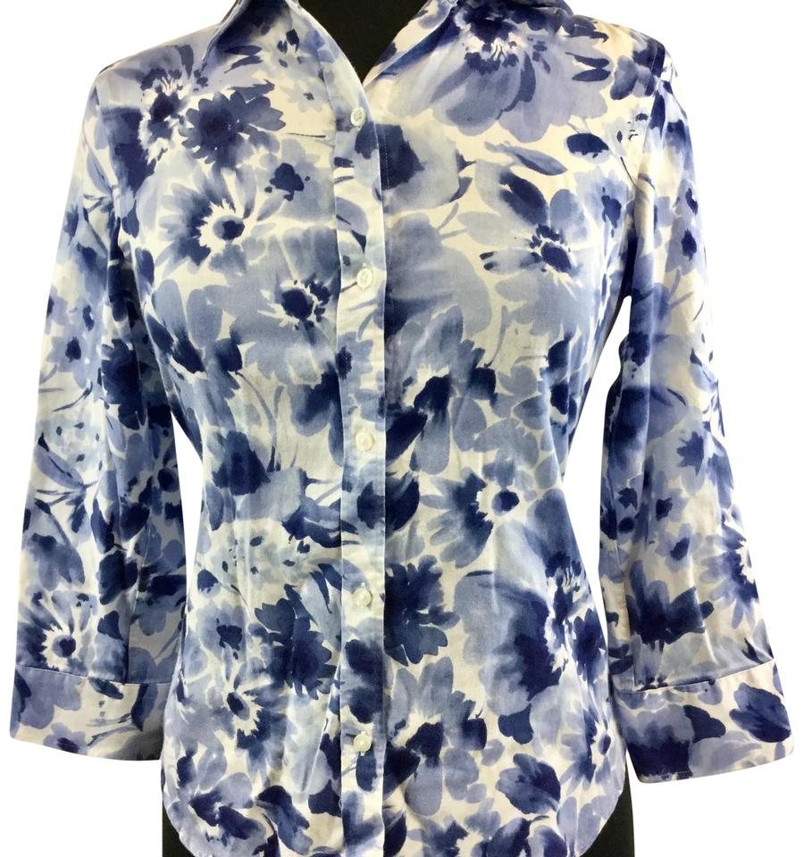 3d4001cf7483fb Chaps Blue and White Button-down Top Size Petite 6 (S) - Tradesy