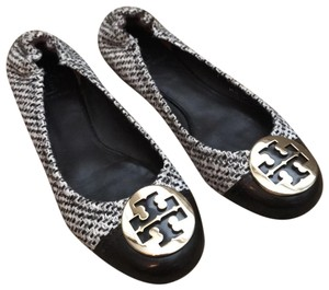 Tory Burch Brown Tweed/Leather Flats