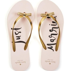 "Kate Spade Gold (And Pink) Nayla ""just Married"" Metallic Flip Flop Sandals Size US 7 Regular (M, B)"