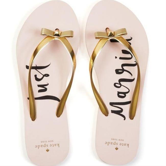 "Item - Gold (And Pink) Nayla ""just Married"" Metallic Flip Flop Sandals Size US 7 Regular (M, B)"