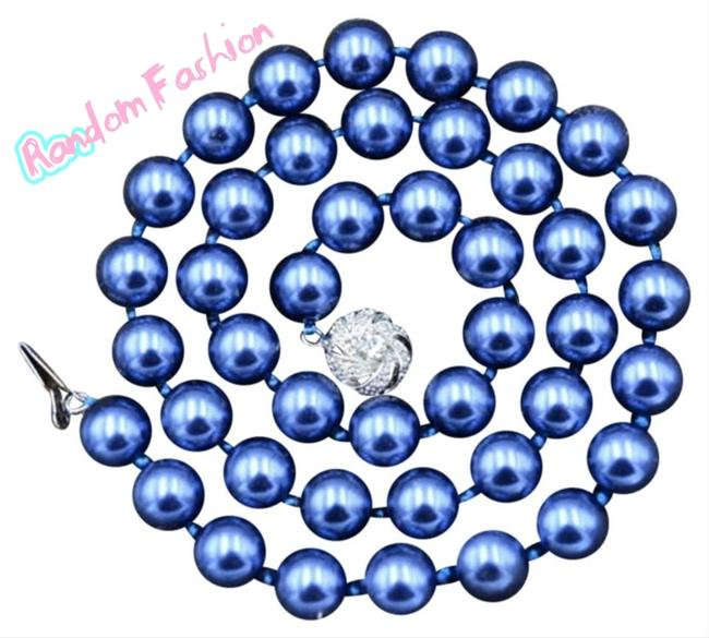 """Item - Blue 8mm South Sea Shell 18"""" Necklace"""