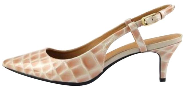 Calvin Klein Tan with White Patent Leather Crocodile Slingbacks Flats Size US 7.5 Regular (M, B) Calvin Klein Tan with White Patent Leather Crocodile Slingbacks Flats Size US 7.5 Regular (M, B) Image 1