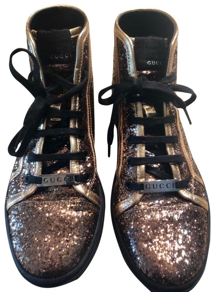 43fc33df7c3 Gucci Gold Black Glitter California High Top Sneakers Size EU 37 ...