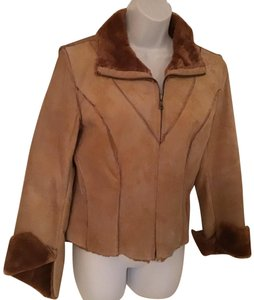 Guess Tan, Brown Leather Jacket