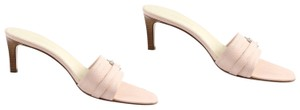 Burberry Pump Silver Hardware Open Toe Pink Mules