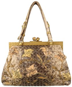 Bottega Veneta Lizard Limited Vintage Textured Floral Cross Body Bag