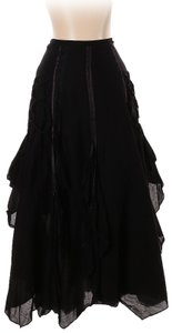 Chaudry Cotton Lace Layered Handkerchief Asymmetric Skirt Black