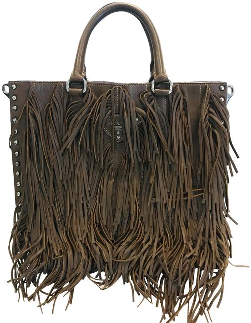 Item - Noce Nappa Fringe Brown Lambskin Leather Tote
