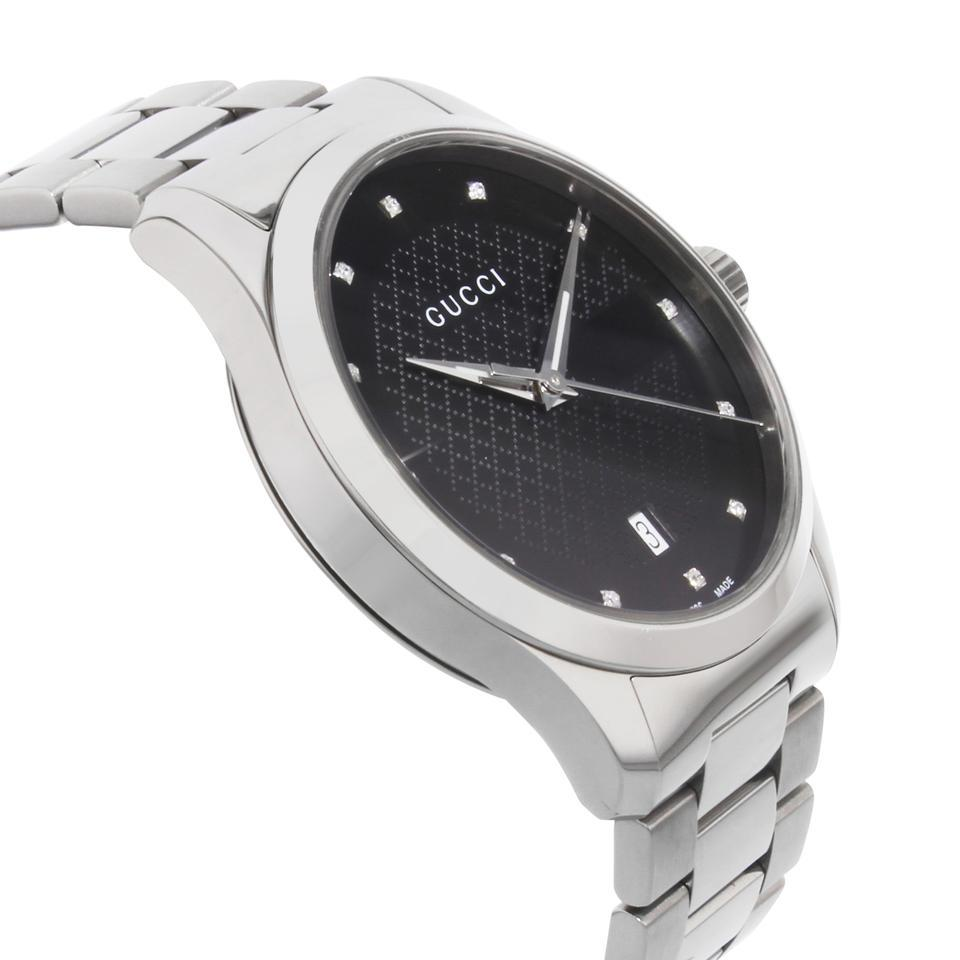 d6b484929d2 Gucci Silver G-timeless Black Diamond Dial Ya126456 Watch - Tradesy