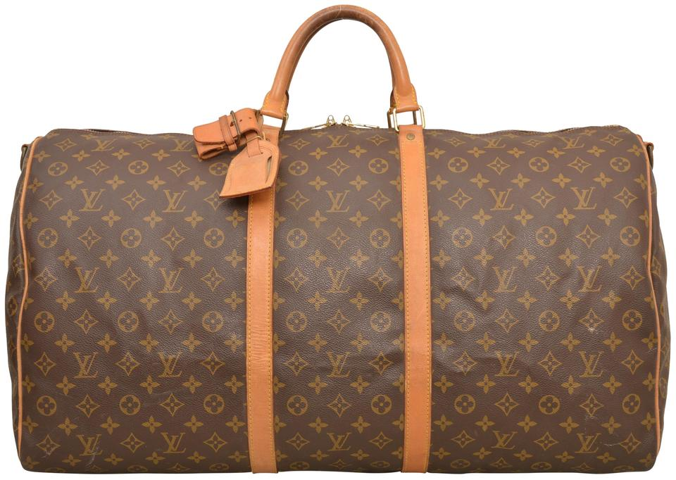 5e0643973757 Louis Vuitton Keepall Duffle 60 Bandouliere Carry On M41412 Brown Monogram  Weekend Travel Bag