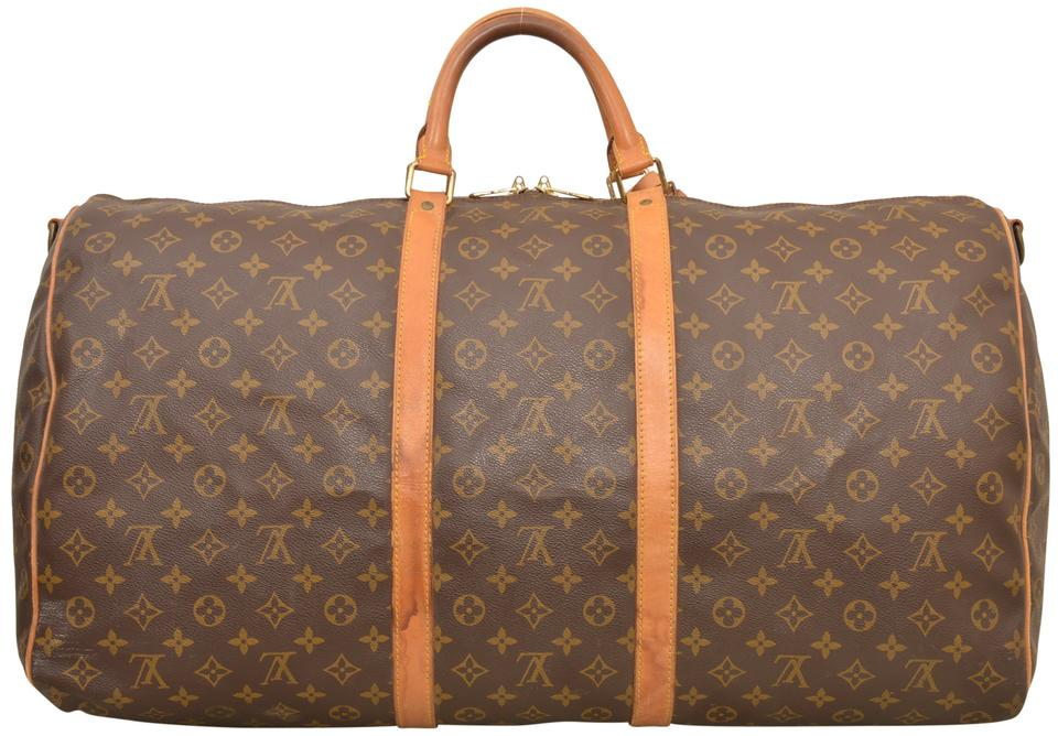 b4ee0a68e3af Louis Vuitton Keepall Duffle 60 Bandouliere Carry On M41412 Brown Monogram  Weekend Travel Bag - Tradesy
