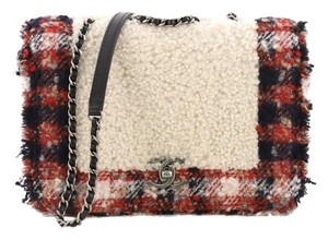 Chanel Shearling Tweed Cross Body Bag