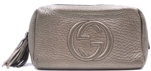 Gucci Logo Leather Pouch Tassel RARE Metallic dark silver Clutch