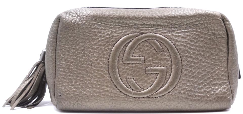 1be41a80 Gucci Soho #28141 Gg Logo Pouch with Tassel Zippy Toilette Cosmetic Rare  Metallic Dark Silver Leather Clutch