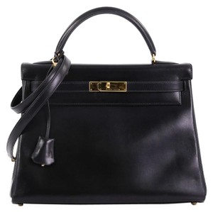 Hermès Leather Satchel in Noir black