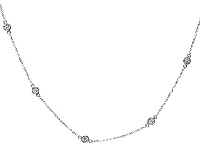 Item - 14k White Gold 0.45 Carat Round Diamonds By The Yard Necklace