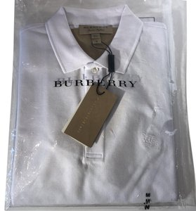 afc210e5 Burberry White New Slim-fit Polo with Check Trim Tee Shirt Size 8 (M ...