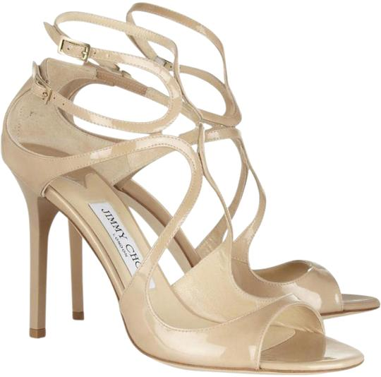 Jimmy Choo Abel Nude Patent Leather Pointed Toe Pumps