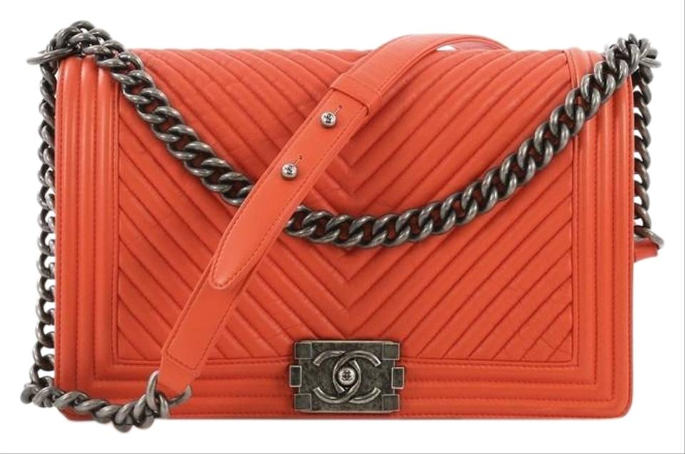 6f215bb86ada Chanel Classic Flap Boy Chevron Wrinkled New Medium Orange Lambskin  Shoulder Bag