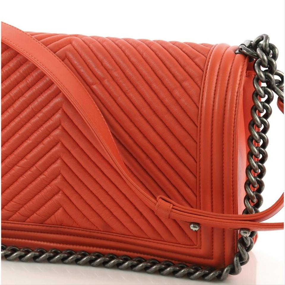 388ffb30ac70 Chanel Classic Flap Boy Chevron Wrinkled New Medium Orange Lambskin ...