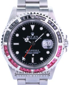 Rolex Rolex Mens GMT II 16710 40mm Black Dial With Sapphire Ruby Diamond