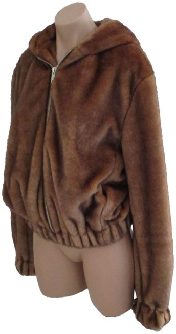 Item - Brown Faux Fur Hooded Bomber Small Jacket Size 4 (S)