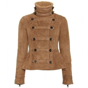 Burberry Prorsum Shearling Aviator Peplum Military Jacket