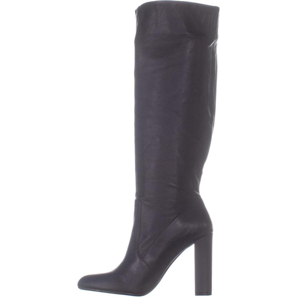 bb7230f861f Steve Madden Black Eton Tall Block-heel 253 Leather Boots Booties Size US  8.5 Regular (M