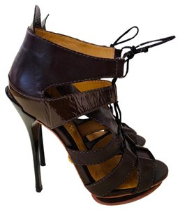 L.A.M.B. Leather Patent Leather Platform Sleek Strappy Brown Sandals