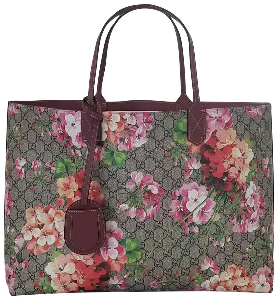 04cd56c8e07 Gucci Large Reversible Blooms Floral Rose Pink Leather Tote - Tradesy