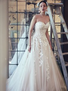 Maggie Sottero Ivory Over Blush Lace and Tulle Zinaida Modern Wedding Dress Size 12 (L)