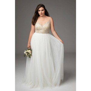 Watters Nude/Ivory Blush Kaliah Tulle Beaded Gown Feminine Wedding Dress Size 18 (XL, Plus 0x)