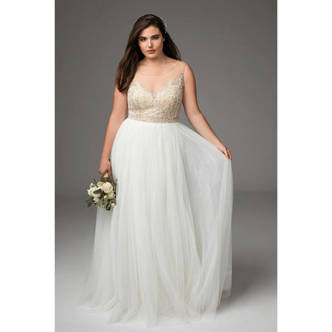 Item - Nude/Ivory Blush Kaliah Tulle Beaded Gown Feminine Wedding Dress Size 18 (XL, Plus 0x)