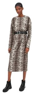 Brown Maxi Dress by Zara Belt Belted Longsleeve Round Neck Animal Print