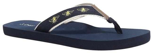 Item - Navy Yellow Embroidered Flip Flop Bee Sandals Size US 8 Regular (M, B)
