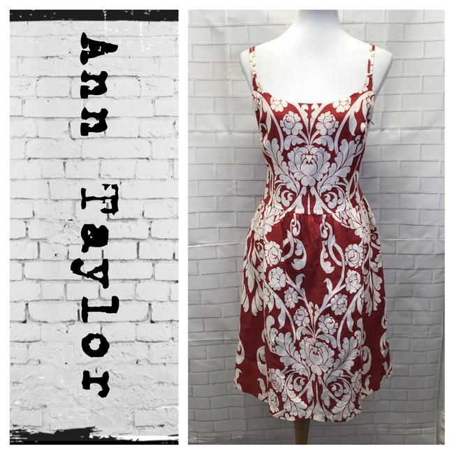0751655d85 Ann Taylor Chili White Floral Linen Gown Mid-length Work Office ...
