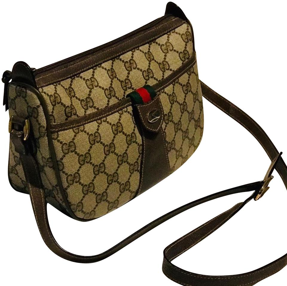cc3a3f5fbbef Gucci Monogram Gg Supreme .... Sherry Line.... Ophidia Brown Pvc/Coated  Canvas with Leather Trim Cross Body Bag