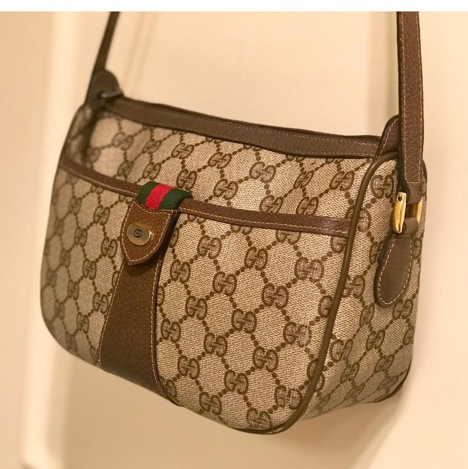 903122513d72ac Gucci Monogram Gg Supreme .... Sherry Line.... Ophidia Brown Pvc/Coated  Canvas with Leather Trim Cross Body Bag - Tradesy