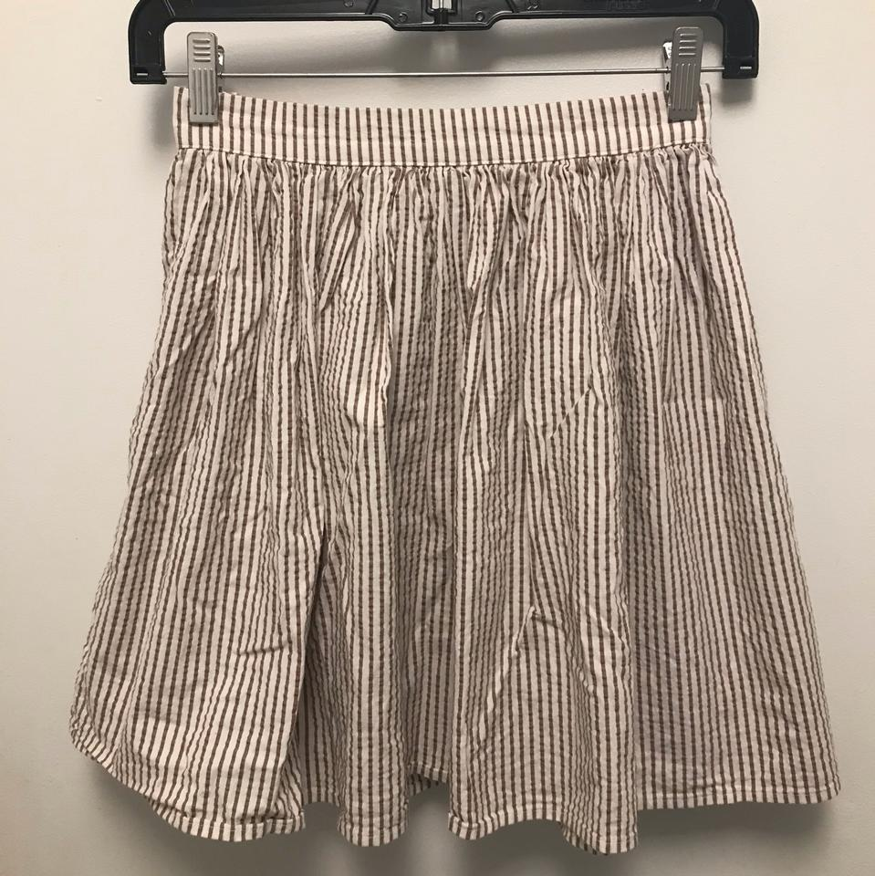 American Apparel White Brown Skater Skirt Size 4 (S 2d3240204