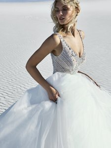 Sottero and Midgley Ivory Over Nude/Pewter Accent Tulle Bardot Modern Wedding Dress Size 8 (M)