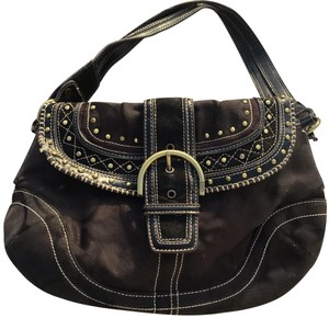 6427c569fc Coach Soho Monogram Shoulder Black Brown Canvas Leather Hobo Bag ...